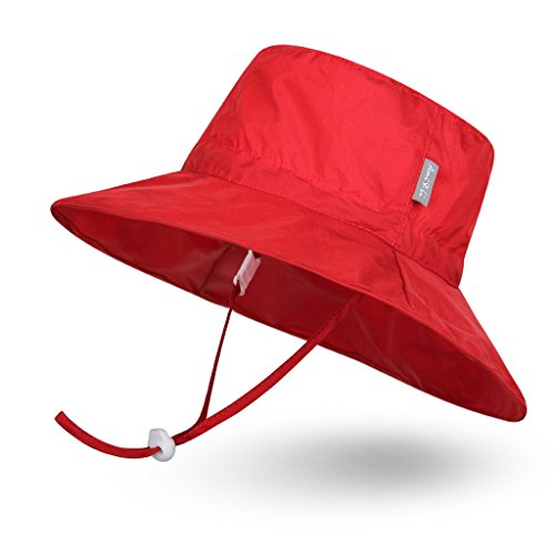 Ami&Li tots Super Lightweight Child Adjustable Ultrathin Sunhat for Baby Girl Boy Kids Toddler UPF 50 - L: Red