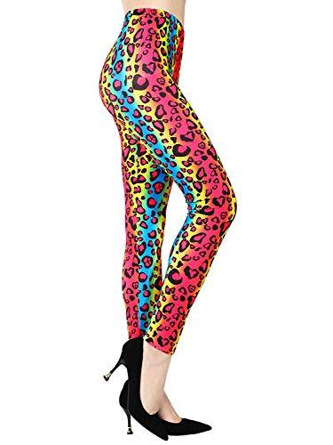 (MIAIULIA Multi Color Animal Print Bright Leggings 1980s Pants Zebra Cheetah)