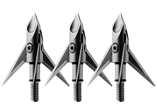 Ramcat Crossbow Hydroshock-X Pivoting Broadheads - 100 Grain, Silver/Stainless Steel, Front & Rear Sharpened Blades - (3 Pack)
