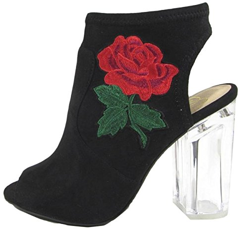 Black Bootie Lucite Women's Embroidered Heel Toe Merit Floral Peep Delicious Clear Rose XSvnxXP