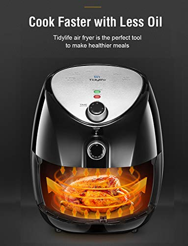 Air Fryer, Tidylife 4.5 Qt AirFryerXL with Smart Time & Temperature Control, 1500W Nonstick Basket HotAirFryer with 50+ Recipes by Tidylife (Image #3)