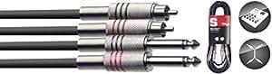 Stagg STC6PCM - Cable RCA a jack (6.3 mm, macho, acodado, 6 m)