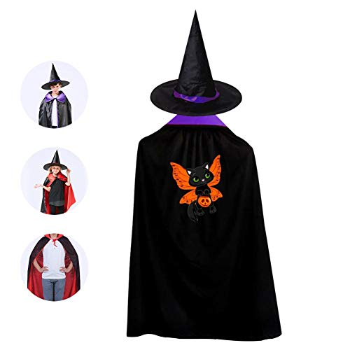 69PF-1 Halloween Cape Matching Witch Hat Black Cat Butterfly Wizard Cloak Masquerade Cosplay Custume Robe Kids/Boy/Girl Gift Purple