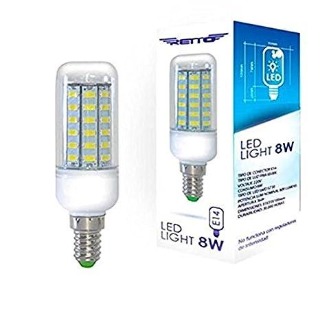 Bombilla led e14 8w retto luz friz 220v 800lumens luz color 6500k: Amazon.es: Electrónica
