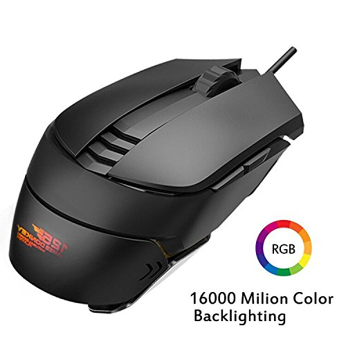 Pro RGB Gaming Mouse Wired,ET Robot Ergonomic Pro Gamer Mouse UP to 5000 DPI RGB LED Backlit with 6 Programmable Buttons,4 Adjustable DPI Levels,High-Precision,Aluminum Chassis for PC, Mac, Laptop,