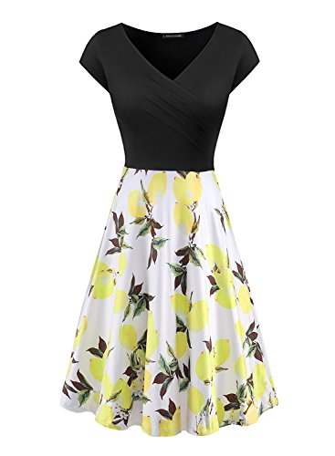Cap V-neck Print (Mulysaa Womens Vintage Solid Color Patchwork Print Flare Dress A Line Floral Party Dress Yollow XL)