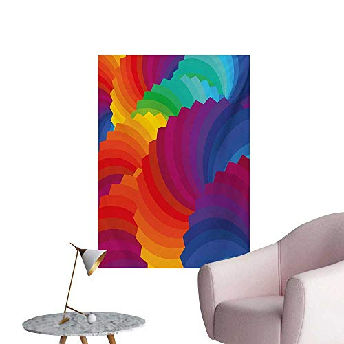 - Anzhutwelve Colorful Wallpaper Modern Gradient Dash Sea Shell Inspired Wavy Dimension Palette Stripes ArtisanMulticolor W32 xL48 Art Poster