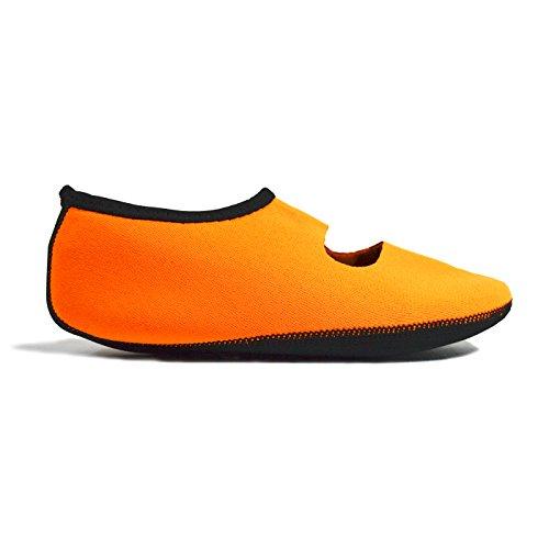 NuFoot Mary Janes Damenschuhe, beste faltbare und flexible Wohnungen, Reise- & Übungsschuhe, Tanzschuhe, Yoga Socken, Hallenschuhe, Hausschuhe Orange