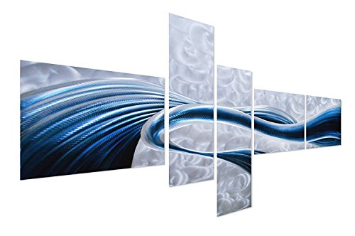 Pure Art Blue Desire Metal Wall Art, Large Scale Decor in Abstract Ocean Design, 3D Wall Art for Modern and Contemporary Decor, 5-Panels Measures 69x 40, Great for Indoor and Outdoor Settings