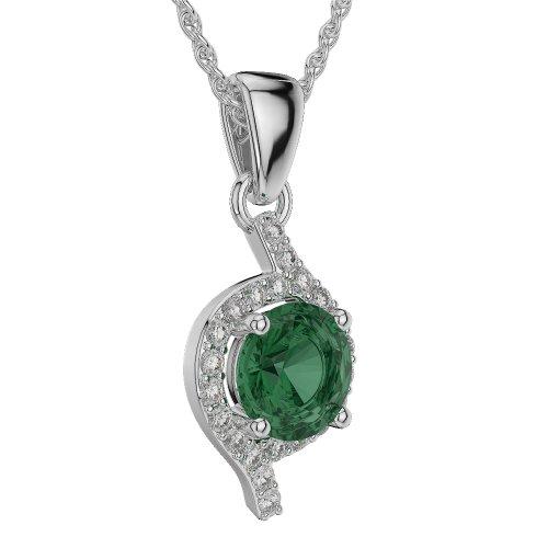 Or blanc/or/Rose/Jaune/Or/Platine forme ronde-Collier Femme-diamant émeraude et agdnc-1076-vsgh