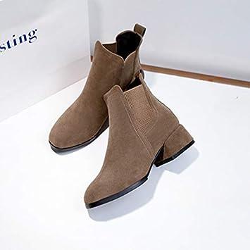 Shukun Botines Zapatos Botines de Mujer Negros Gruesos con Juegos de pies Botas Cortas universitarios Estudiantes de Viento Martin Botas Mujeres: Amazon.es: ...