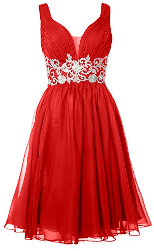 MACloth Women Straps V Neck Cocktail Dress 2017 Short Wedding Party Formal Gown Rojo