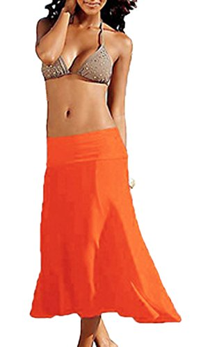 Couleur Plage Orange Robes Midi Up Unie Cover Bandeau de Bikini Femmes t Casual wq6x0aSnH
