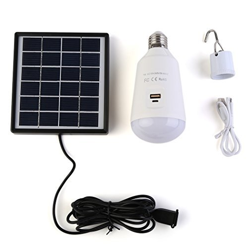 Solar Powered Led Light Bulb Lights Kits , SIEGES Portable Outdoor Solar Energy Lamp Lighting for Home Corridor Hiking Fishing Studying Emergency Camping Tent by SIEGES