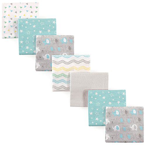 Luvable Friends 7 Piece Flannel Receiving Blanket, Basic Elephant, One Size