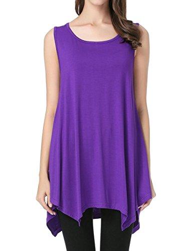 JollieLovin Womens Plus Size Loose-fit Sleeveless T-Shirt Tank Tunic Top(S, Deep Purple)