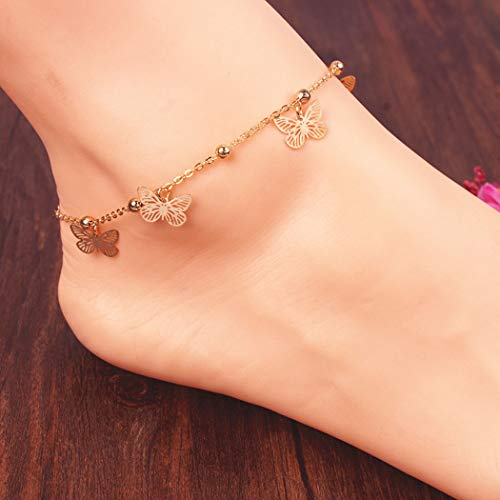 Jovono Beaded Anklets Fashion Butterfly Anklet Bracelets Beach Foot Jewelry for Women and Girls (Gold)