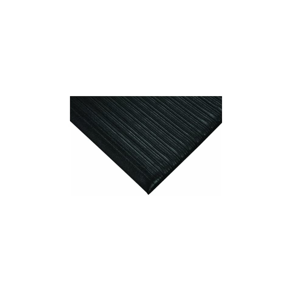 Wearwell PVC 451 Tuf Sponge Light Duty Anti Fatigue Mat, for Dry Areas, 3 Width x 5 Length x 1/4 Thickness, Black