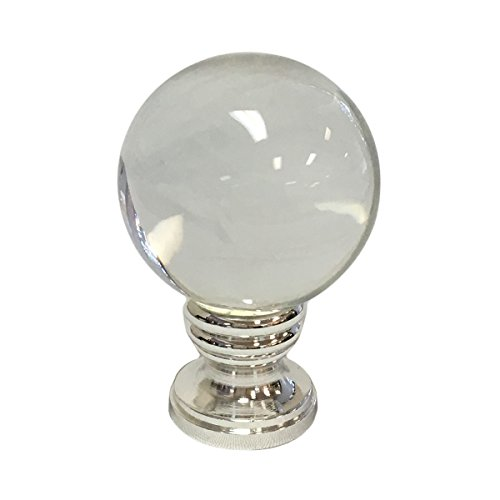 (Royal Designs Clear Crystal Ball Lamp Finial with Polished Silver Base)