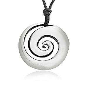 Spiral Shell Necklace Pendant with Maori Koru Loop Design, Fine Pewter Jewelry