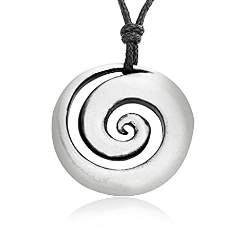 Dan's Jewelers Classic Spiral Shell Necklace Pendant + Silver Plated Clasp, Fine Pewter Jewelry