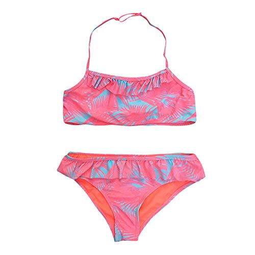Diufon Fashion Baby Girl Floral Print Bathing Suit Summer Casual Frill Print Split Swimsuit Bikini Fit 7-14 Years Old Girls (11-12T, Red) (Best Xbox 360 Games For 11 Year Olds)