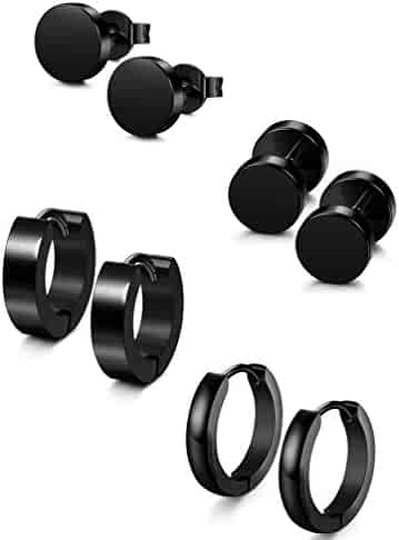 Jstyle 4 Pairs Stainless Steel Stud Earrings for Men Women Hoop Earrings Huggie Piercing 18G