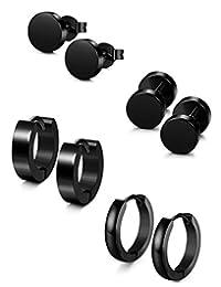 Thunaraz 4-9 Pairs Stainless Steel Stud Earrings for Men Women Hoop Earrings Huggie Piercing 18G