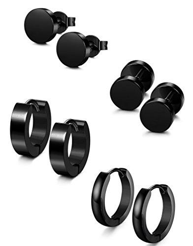 Jstyle 4 Pairs Stainless Steel Stud Earrings for Men Women Hoop Earrings Huggie Piercing 18G Jstyle