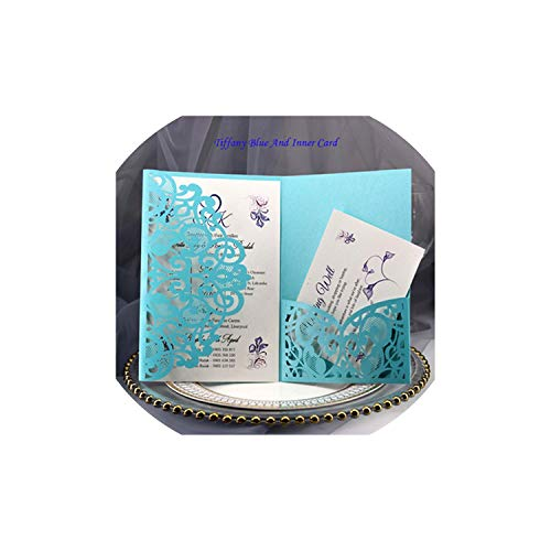 Greeting Card,1Pcs Blue White Elegant Cut Wedding Invitation Cards Greeting Card Business With Cards Decor Party Supplies,Cover And Inner Card6
