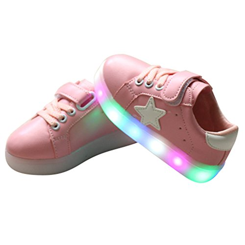 Highdas Niños Muchachos Muchachos LED Zapatos Colorido Luz Up Sneaker Trainers rosado