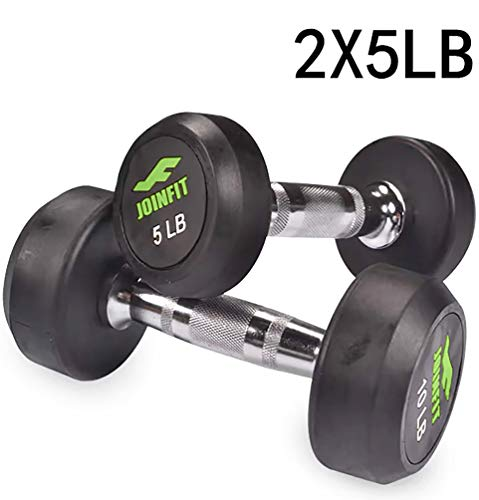 5 lb Gym Home Dumbbells Set of 2,Rubber Coated,Hand Weights for Exercises 5 Pound Dumbell,5 lbs Pair Workout Barbell for…