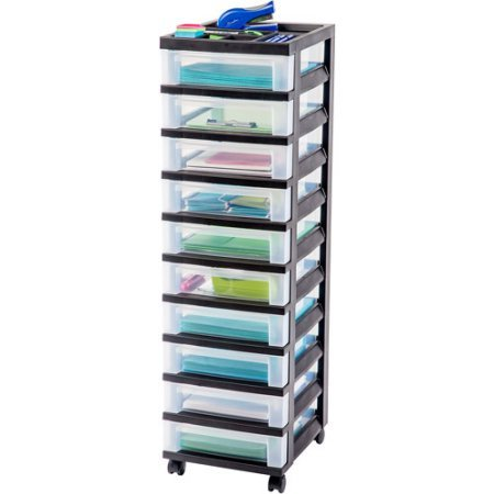 IRIS 10 Drawer Rolling Storage Black