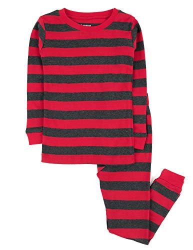 Leveret Striped 2 Piece Pajama Set 100% Cotton (14 Years, Red & Grey)