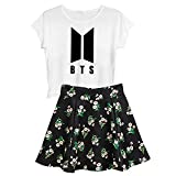 Aopostall Kpop BTS Jimin Jin Suga V Jung Kook J-Hope Rap Monster Shirt Top + Floral Skirt Set 2pcs Dress