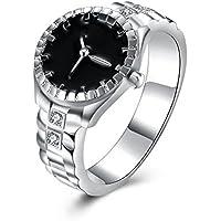 Nongkhai shop Creative Watch 925 Silver Jewelry Black Sapphire Women Wedding Ring Size 6-10 (8)