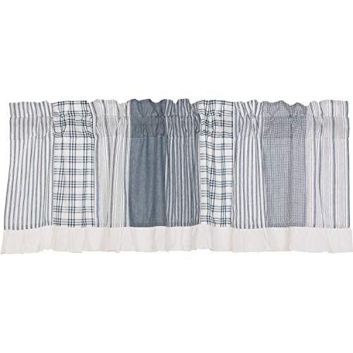 - VHC Brands Farmhouse Kitchen Curtains Miller Farm Charcoal Rod Pocket Cotton Hanging Loops Patchwork Chambray 19x60 Valance Blue Denim