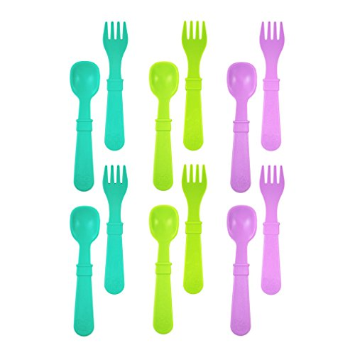 Re-Play Made in USA 12pk Toddler Feeding Utensils Spoon and Fork Set for Easy Baby, Toddler, Child Feeding - Aqua, Lime, Purple (Mermaid) 6 Spoons/6 Forks