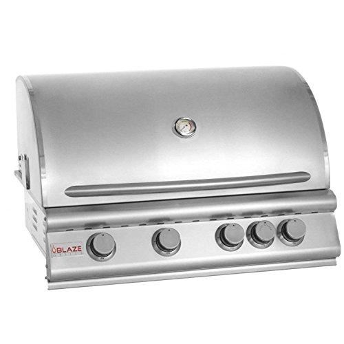 "Blaze BLZ-4-LP 32"" Liquid Propane Grill with 4 Commercial Quality 304 Cast Stainless Steel Burners 66 000 Total BTUs and Removable Warming Rack in Stainless Blaze"
