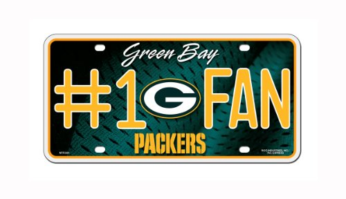 Nfl Green Bay Packers  1 Fan Metal Auto Tag