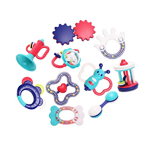 SOWOW Baby Rattles Teether Toy 10 Pieces Newborn Infant Shaking Rattles Set with Box Packing, Best Gift Grab Toys for Toddlers Boy and Girl