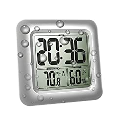 BALDR LCD Digital Wall Clock, Bathroom Shower Clock, Waterproof for Water Spray, Temperature Humidity Display with Strong Suction Cups, Table Clock