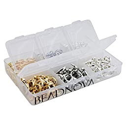 BEADNOVA 60pcs 12mm Silver/ Gold/ Rhodium Plated Lobster Claw Clasps + 300pcs 7mm Open Jump Ring for Jewelry Making Value Pack Box Set Assortment