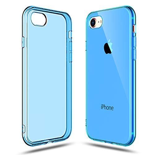 Shamo's Transparent Shock Absorption TPU Rubber Gel Case (Deep Blue) Compatible with iPhone 7 and iPhone 8