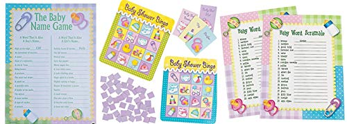 (HAPPY DEALS ~ Set of 3 - Baby Shower Games Package - Baby Word Scramble, The Baby Name Game and Baby Shower)