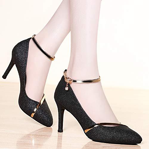 Verano Sandalias Yukun Zapatos Mujer Femenina De Primavera Moda Alto Puntiagudo Alto Black Estilete Tacón Boca Baja p7q6Rwp