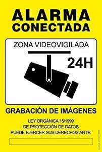 akrocard Cartel Resistente PVC - Zona VIDEOVIGILADA 24H(Amarillo) - Señaletica de Aviso - Ideal para Colgar y Advertir al transeúnte