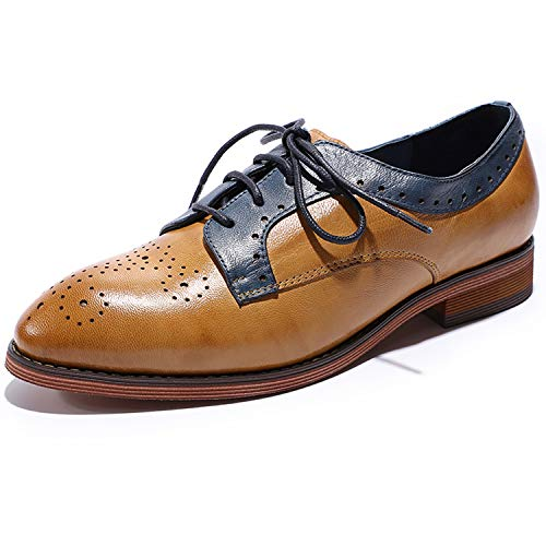 MIKCON Womens Oxfords Shoes Leather Perforated Wingtip Lace up Flats Saddle Brogue Shoes for Womens Girls -