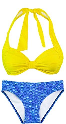 Fin Fun Mermaidens - costume bikini donna con reggiseno a conchiglia stile sirena Arctic Blue/Yellow