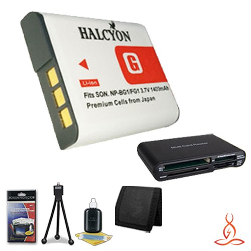 Halcyon 1400 mAH Lithium Ion Replacement NP-BG1 Battery + Memory Card Wallet + Multi Card USB Reader + Deluxe Starter Kit for Sony Cybershot DSC-W215 12 Megapixel Digital Camera and Sony NP-BG1 by Halcyon